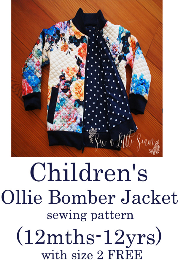 Children's Ollie Bomber Jacket sewing pattern (12mths-12yrs) with size 2 FREE