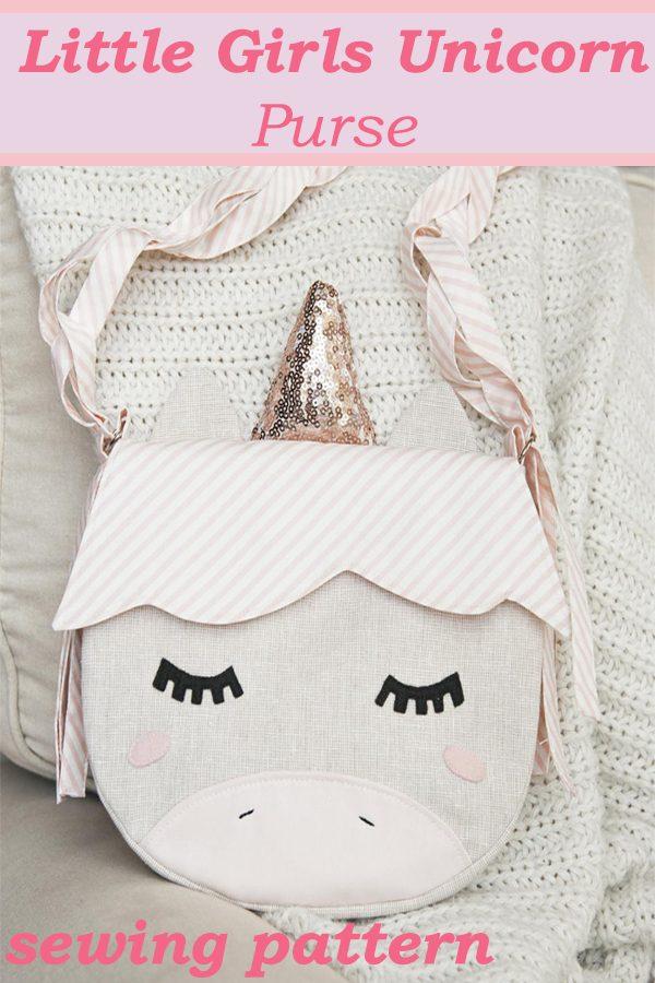 Little Girls Unicorn Purse sewing pattern