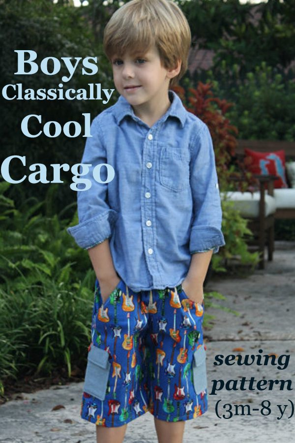 Boys Classically Cool Cargo Shorts sewing pattern (3m - 8y)