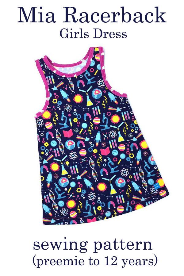Mia Racerback Girls Dress sewing pattern (preemie to 12 years)