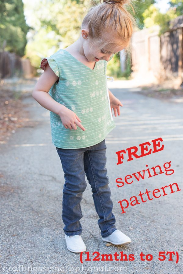 FREE Girls Reversible Wrap Top sewing pattern (12mths-5T)