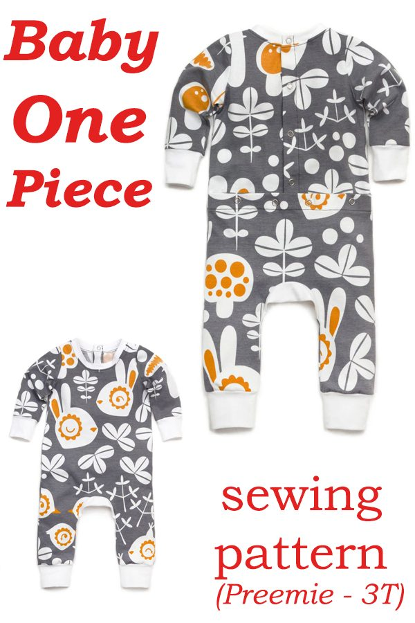 Baby One Piece sewing pattern (Preemie - 3T)