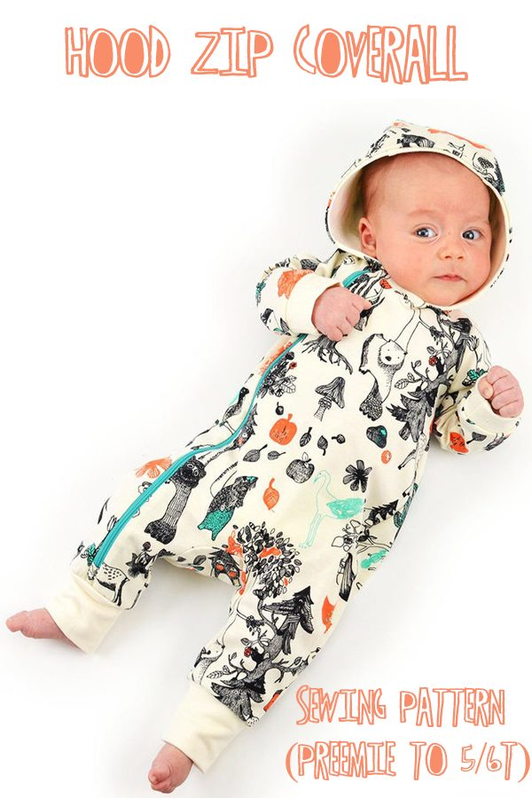 Hood Zip Coverall sewing pattern (preemie to 5/6T)