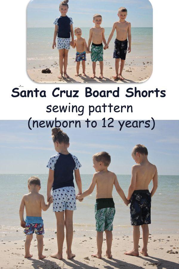 Santa Cruz Board Shorts sewing pattern (newborn to 12 years)