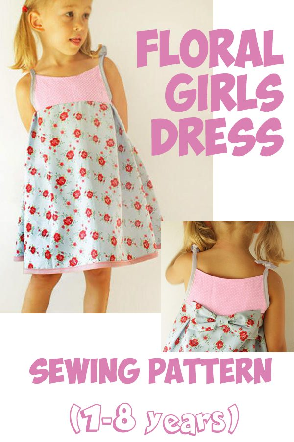 Floral Girls Dress sewing pattern (1-8 years)