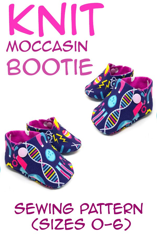 Knit Moccasin Bootie sewing pattern (Sizes 0-6)