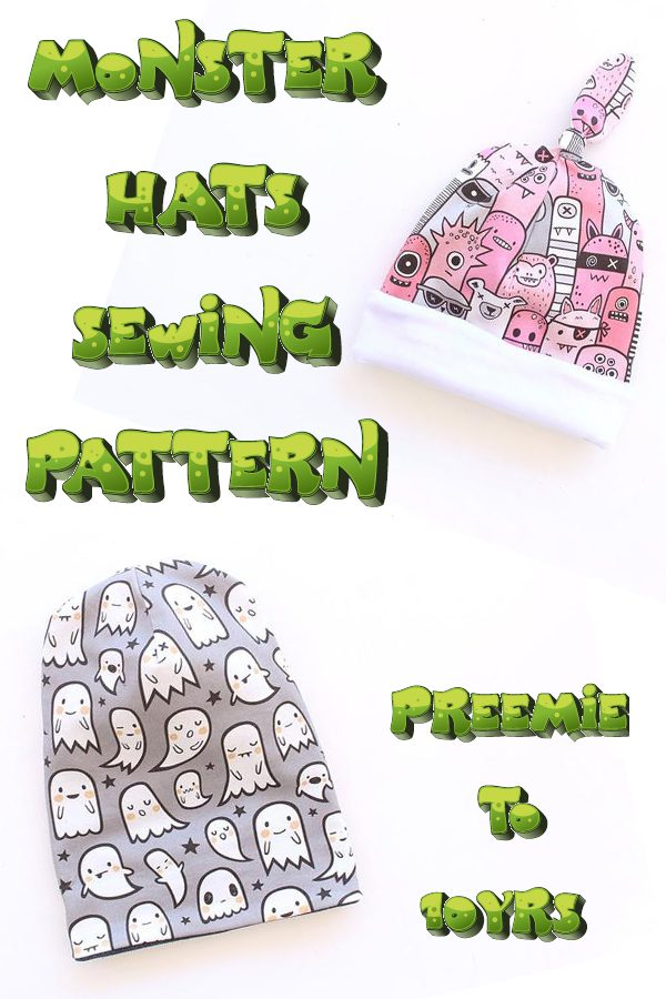 Monster Hats sewing pattern (preemie to 10yrs)