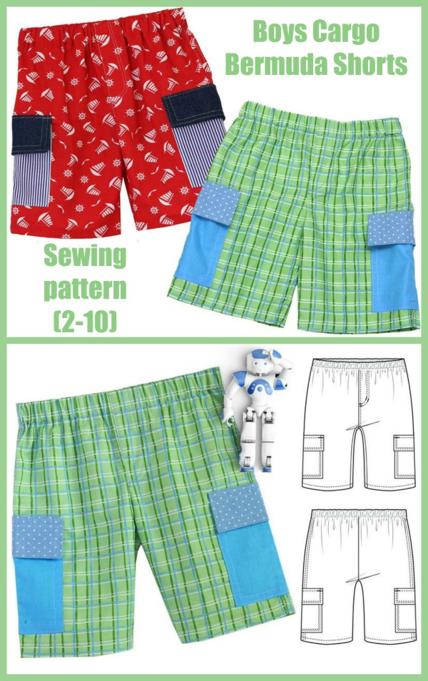 Boys Cargo Bermuda Shorts sewing pattern (2-10)