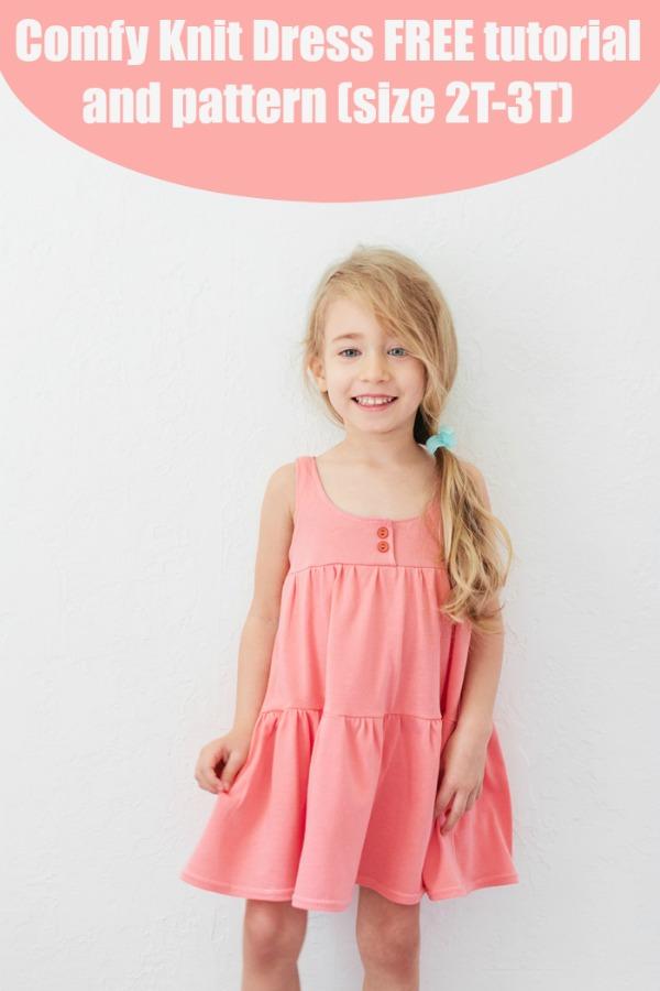 Comfy Knit Dress FREE tutorial + pattern (size 2T-3T)