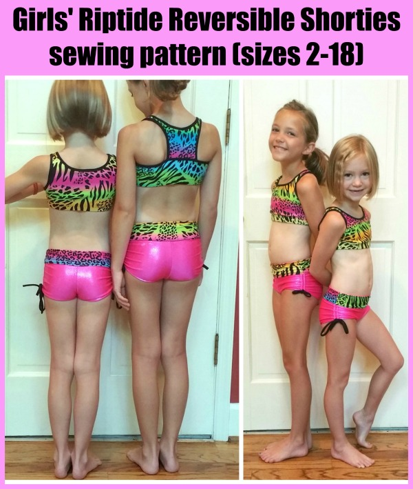 Girls' Riptide Reversible Shorties sewing pattern (sizes 2-18)