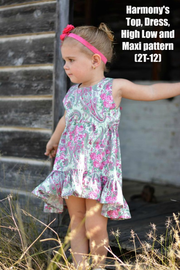 Harmony's Top, Dress, High Low and Maxi sewing pattern (sizes 2T-12)