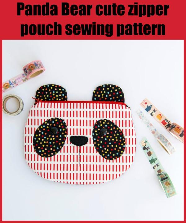 Panda Bear cute zipper pouch sewing pattern