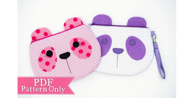 Panda Bear cute zipper pouch sewing pattern