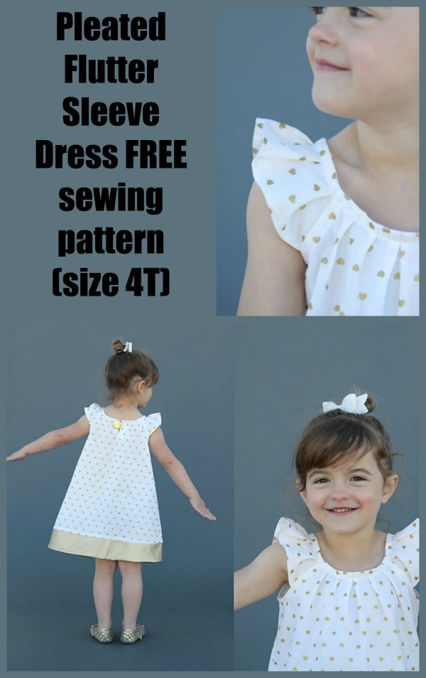 Pleated Flutter Sleeve Dress FREE sewing pattern (size 4T)