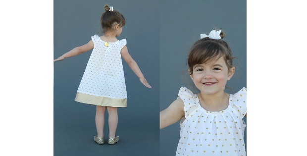 Pleated Flutter Sleeve Dress FREE sewing pattern (size 4T)