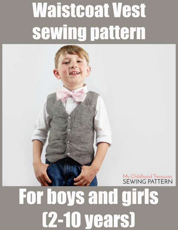 Waistcoat Vest sewing pattern for boys and girls (2-10 years)