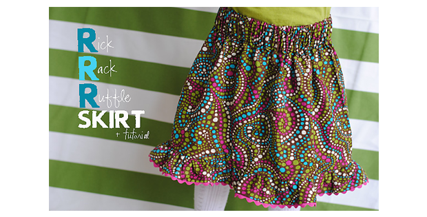 Rick Rack Ruffle Skirt FREE sewing tutorial (2T-3T)