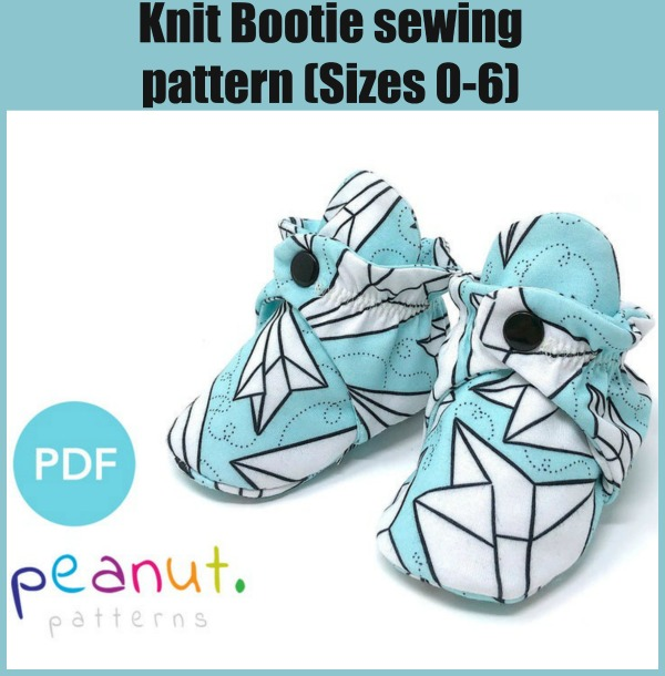 Knit Bootie sewing pattern (Sizes 0-6)