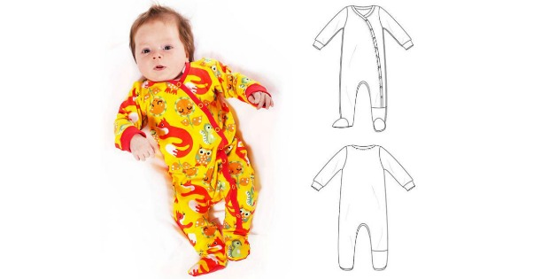 Baby Footed Coverall sewing pattern (preemie-3T)
