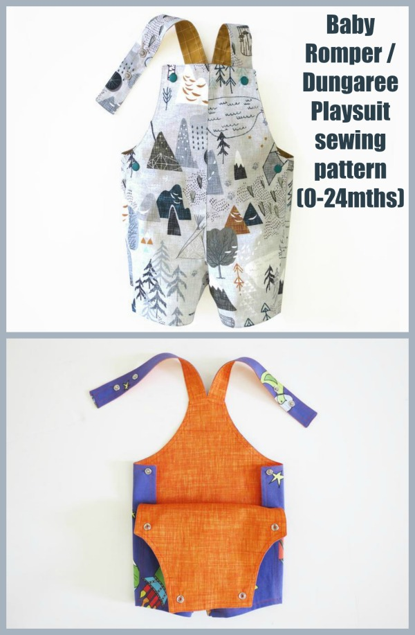 Baby Romper / Dungaree Playsuit sewing pattern (0-24mths)