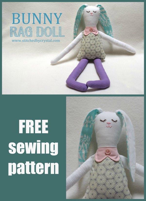Bunny Rag Doll FREE sewing pattern