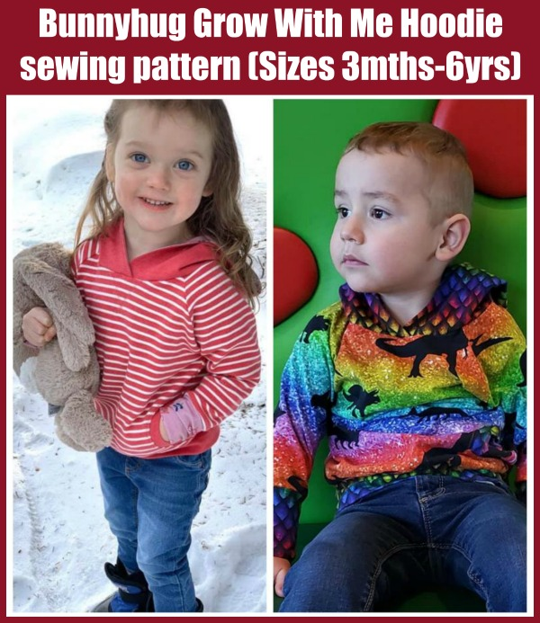 Bunnyhug Grow With Me Hoodie sewing pattern (Sizes 3mths-6yrs)