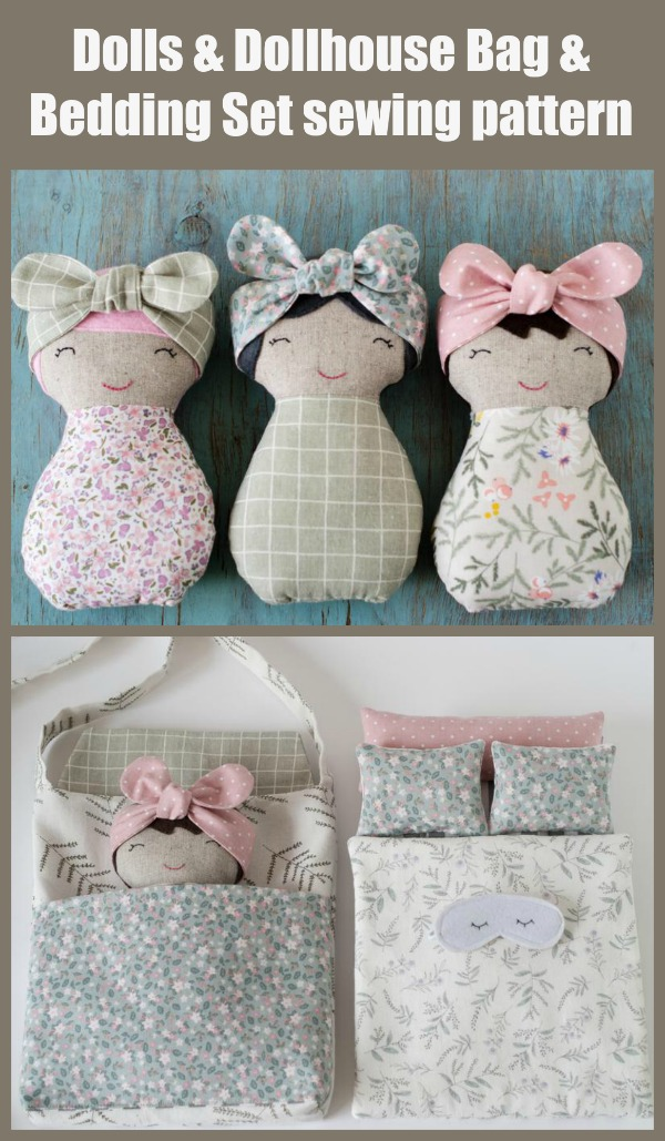 Dolls and Dollhouse Bag and Bedding Set sewing pattern