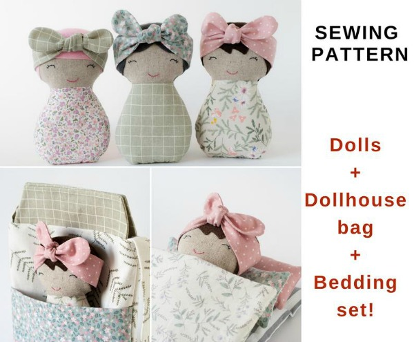 Dolls and Dollhouse Bag & Bedding Set sewing pattern