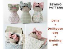 Dolls & Dollhouse Bag & Bedding Set sewing pattern