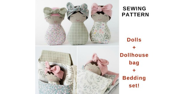 Dolls & Dollhouse Bag & Bedding Set sewing pattern