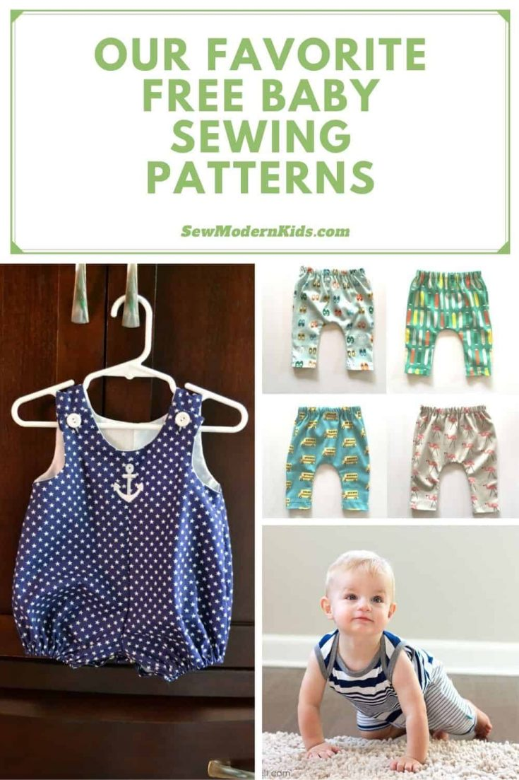 """We're delighted to share with you some of our favorite Free Baby sewing patterns. This includes preemie babies, newborns, toddlers, and beyond. We've got rompers, bodysuits/onesies, hats, dresses, skirts, leggings, bibs, T-Shirts, gowns/sleep sacks, diaper covers, pacifier clips, quilt quiet book, rattles, jumpsuits, bandanas, shoes, pajamas, tights, jackets, hoodies, and even a baby swing. If you are looking for baby free sewing patterns, we hope you will find one (or more) patterns below that you love, and maybe even some patterns that will become """"go-to"""" patterns!"""