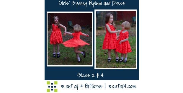Girls Sydney Peplum & Dress sewing pattern (0-3mths to 14yrs)