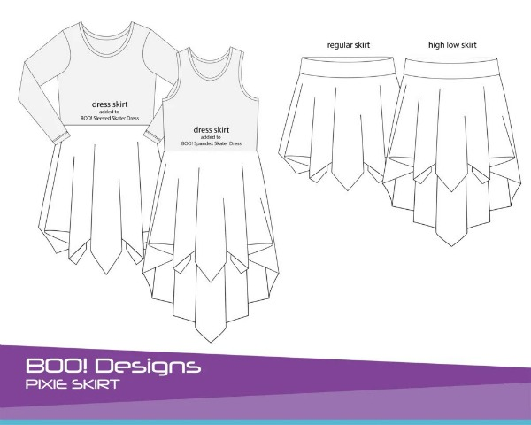 Pixie Skirt sewing pattern (sizes 0-14) - skirt and dress options