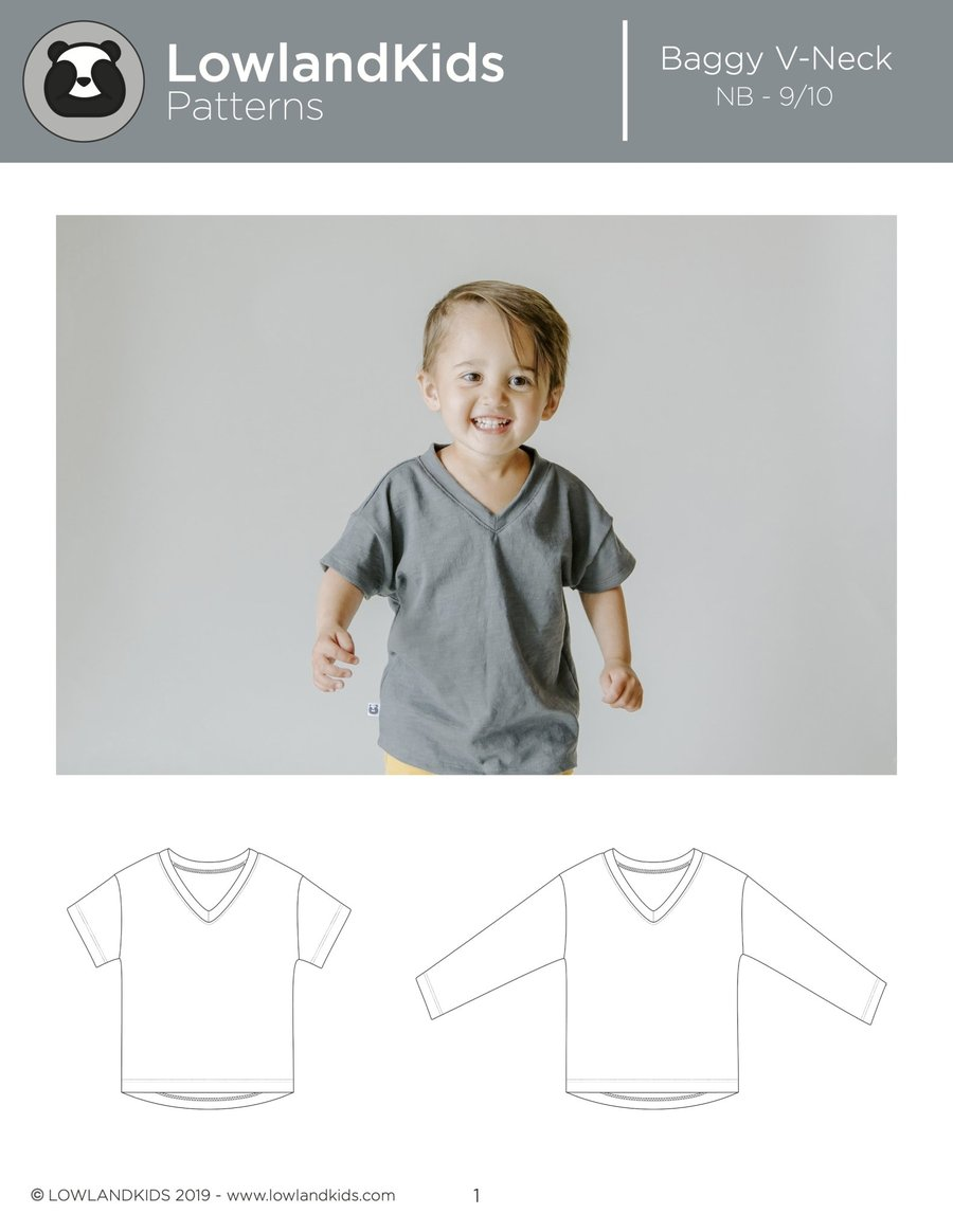 Baggy V-Neck Tee FREE sewing pattern (Newborn-9/10)