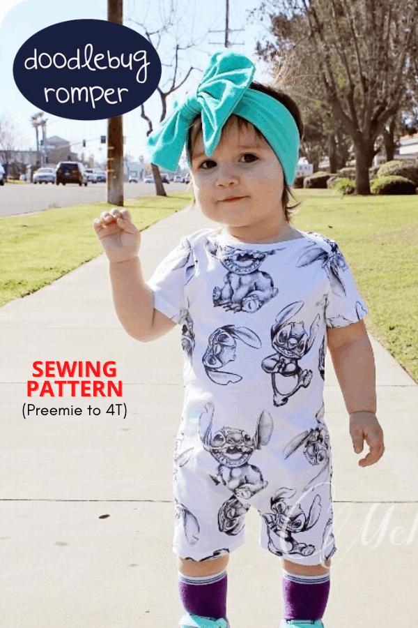 Doodlebug Romper sewing pattern (Preemie to 4T)