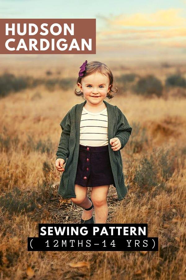 Hudson Cardigan sewing pattern (12mths-14yrs)
