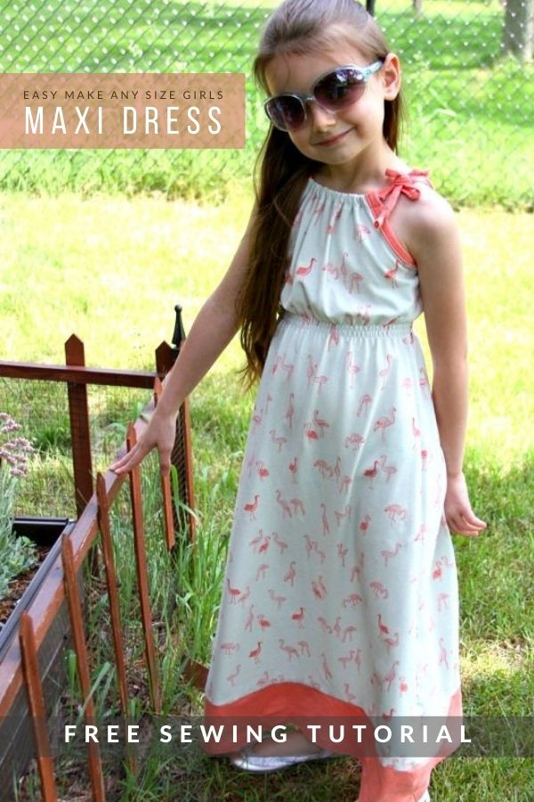 Easy Make Any Size Girls Maxi Dress FREE sewing tutorial