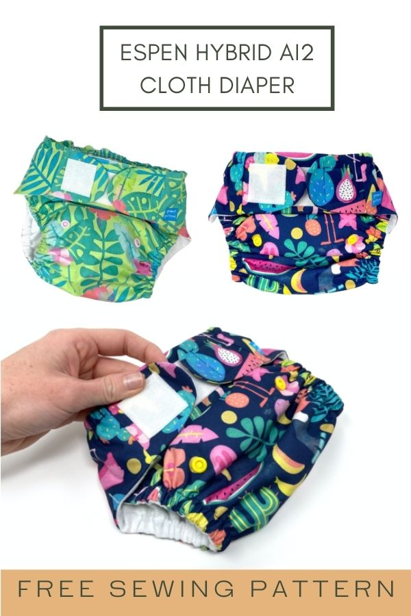 FREE sewing pattern for the Espen Hybrid AI2 Cloth Diaper