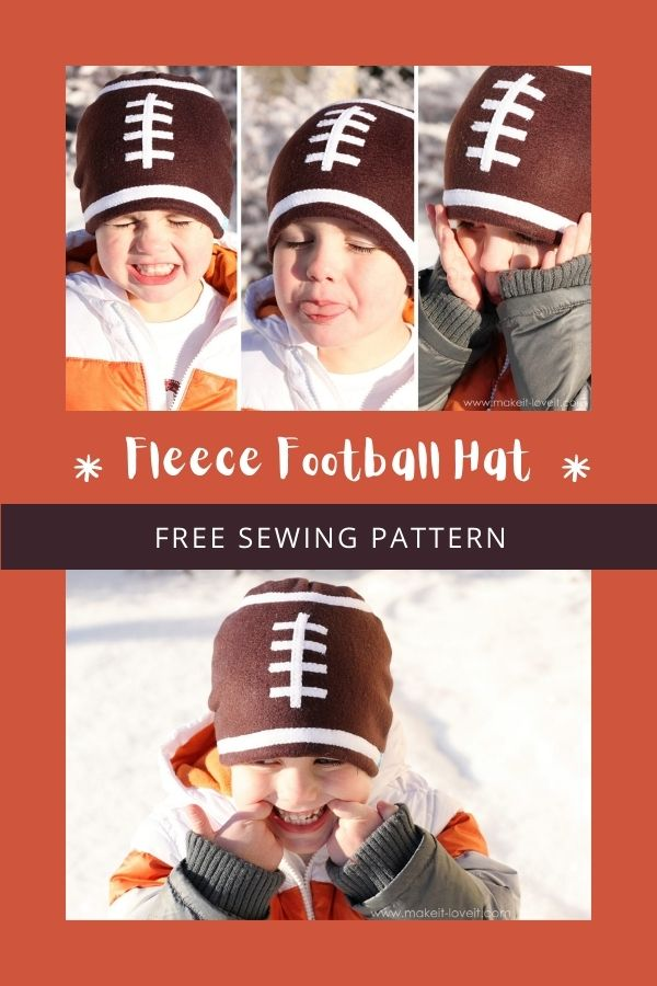 FREE sewing pattern for the Fleece Football Hat