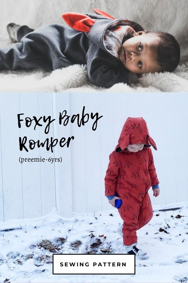 Sewing pattern for the Foxy Baby Romper (preemie-6yrs)