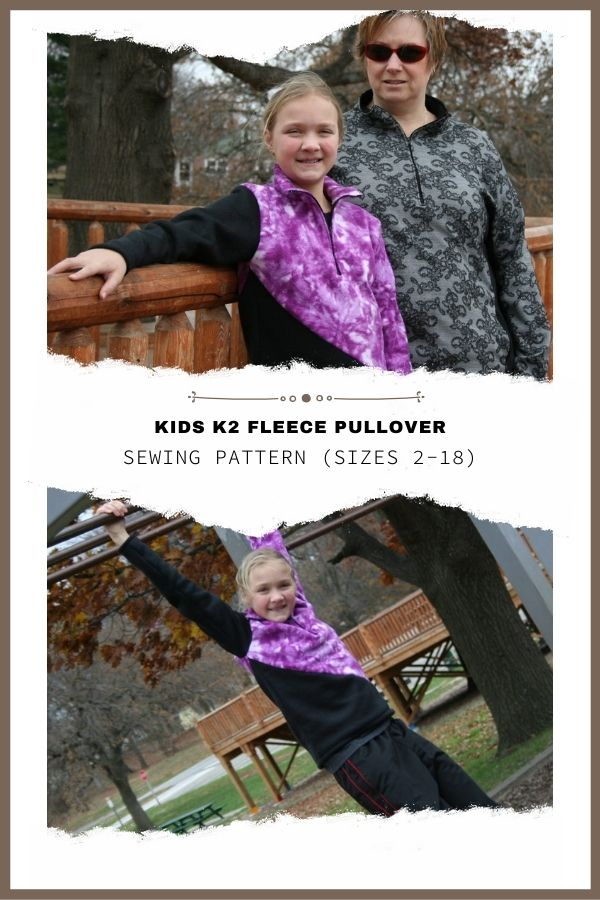 Sewing pattern for the Kids K2 Fleece Pullover (sizes 2-18)