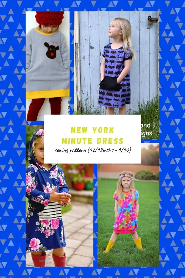 Sewing pattern for the New York Minute Dress (12/18mths - 9/10)