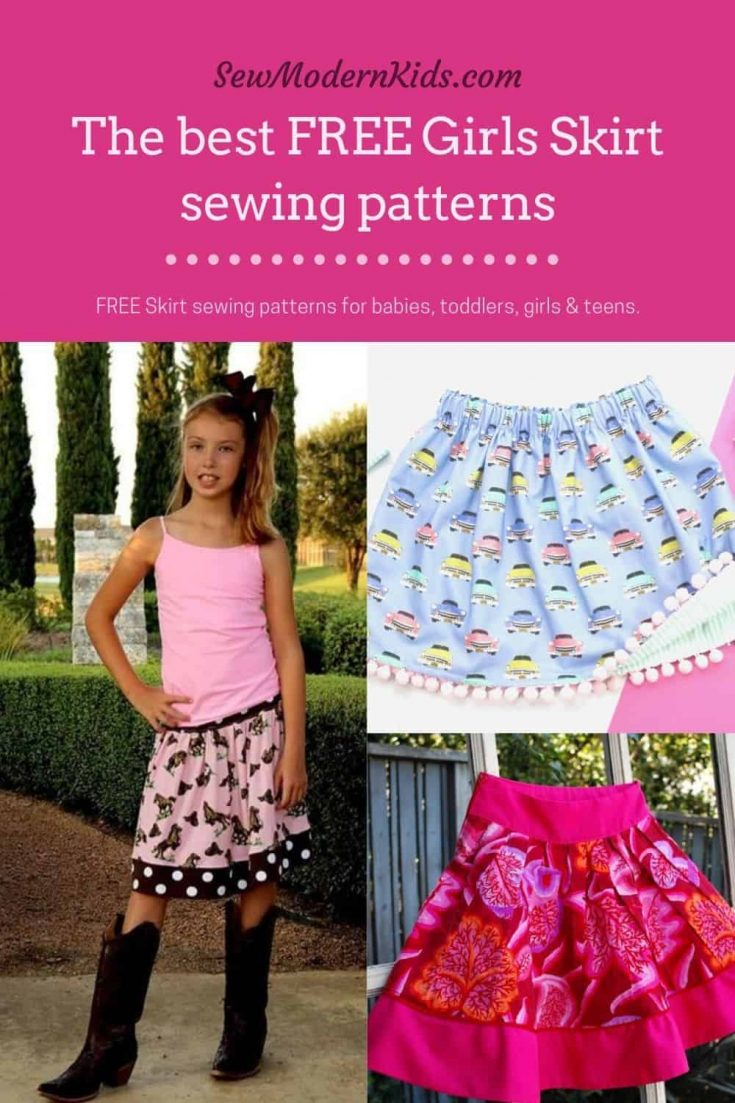 The Best FREE Girls Skirt sewing patterns. DIY skirts to sew for girls from babies to teens. These free and easy girls sewing patterns can fill your little girls wardrobe with all her favorite skirt styles.