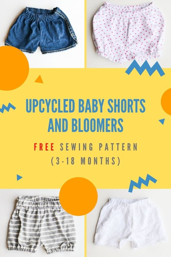 FREE sewing pattern for Upcycled Baby Shorts and Bloomers (3-18 months)