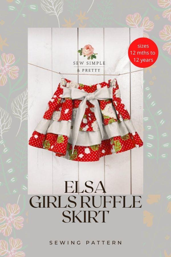 Elsa Girls Ruffle Skirt sewing pattern (12mths-12yrs)