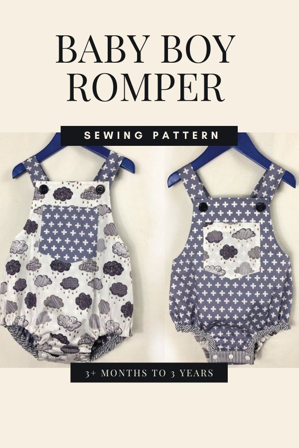 Sewing pattern for a Baby Boy Romper (3+ months to 3 years)