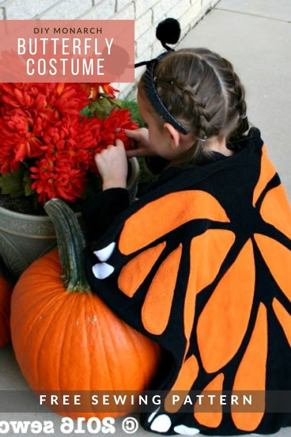 FREE sewing pattern for the DIY Monarch Butterfly Costume