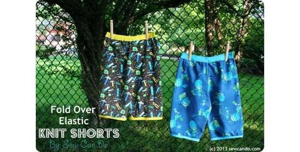 FREE sewing tutorial for the Fold Over Elastic Knit Shorts