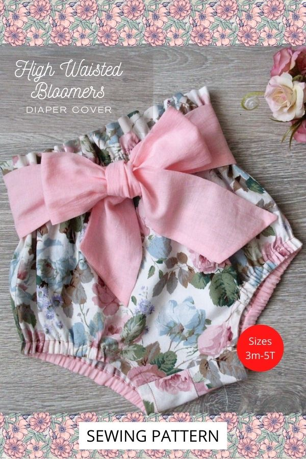 High Waisted Bloomers (Diaper Cover) sewing pattern (Sizes 3m-5T)