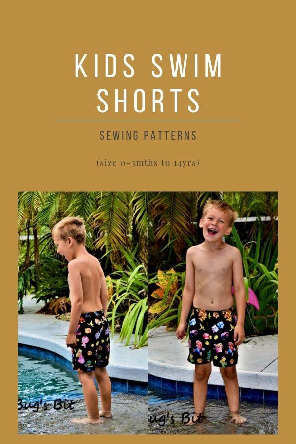 Kids Swim Shorts sewing patterns (size 0-3mths to 14yrs)